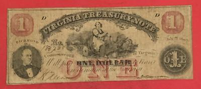 1862 $1 RED Virginia US TREASURY NOTE LARGE SIZE Currency FINE! Old Currency