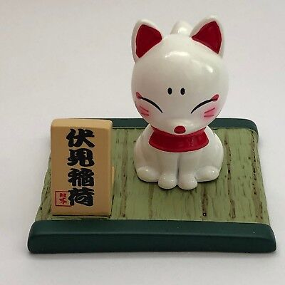 F/S Fushimi Inari Shrine White Fox Doll Cute Kawaii on Tatami Mat from Kyoto
