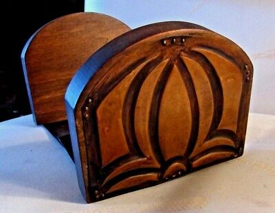 "MISSION Arts & Crafts BOOK ENDS > 1"" thick Wood Stock COPPER MOLDED OVERLAY"