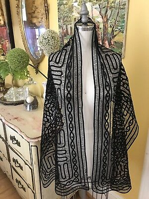 Antique French 1920's Silk Tape~spider Lace Shawl Chic