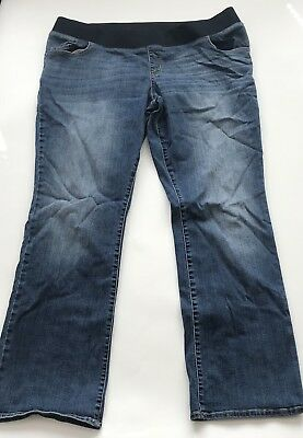 "Liz Lange Maternity Jeans Boot Cut Belly Band Stone Washed Size 18 (32"" inseam)"