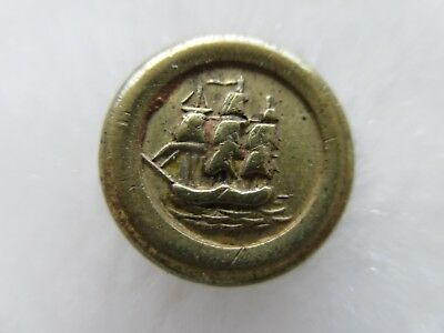 """*ANTIQUE 19th C. FANTASTIC OLD BRASS JACKSONIAN SHIP BUTTON 1/2"""""""