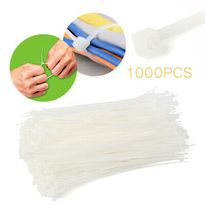 """8"""" inch 1000 PCS Pack  White Network Cable Cord Wire Tie Strap 50 Lbs Zip Nylon"""