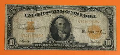 """1922 $10 US """"GOLD Certificate """"LARGE SIZE"""" Currency VG/FINE! Old US Currency"""