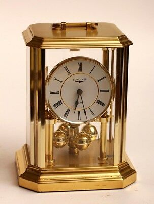 Vintage Brass Longines Mantle or Table Clock with Rotating Balls, Battery Operat
