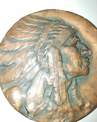 High Relief Native American / Indian Bronze Medal Robbins Co. of Attleboro 64mm!