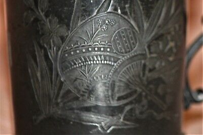 CHILD CUP ~ PEWTER DETAILED~ Embossed  with a FAN and FLOWERS, Vintage/antique