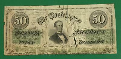1861 $50 US Confederate Currency Contemporary Counterfeit! Old US Currency