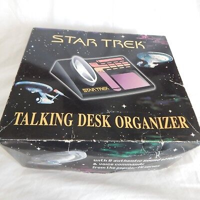 Star Trek Talking Desk Organizer 1997 Next Generation Works New Original Box