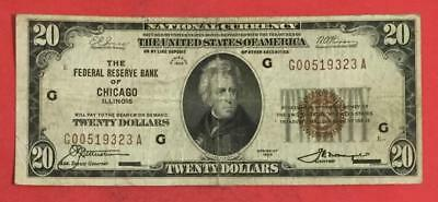 1929 $20 Brown Seal National Currency Chicago X323 VG/FINE! Old US Currency