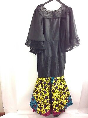 African Women Ankara Maxi Dress Handmade Dashiki Mermaid Long Kimono Sleeve New