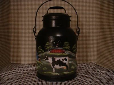Vintage  8 Qt. Metal Milk Can Hand Painted Cows & Country Farms Folk Art By Jmd