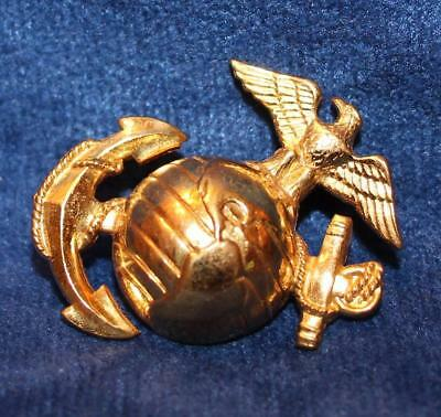 Wwii Us Marine Corps Pattern 1937 Enlisted Gilt Dress Hat Badge  3865