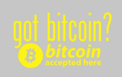 Car or Laptop Decal - Got Bitcoins? Bitcoins Accepted Here Window Decal 6x11 in