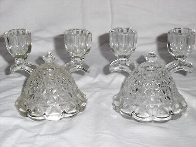 Pair Of Vintage Double (2) Light Art Deco Clear Glass Candle Holders.