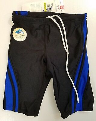 NWT Speedo Youth Quantum Spliced Jammer Swimsuit Size 24 705647H Black/Blue