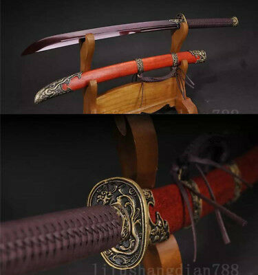 39' Red Folded Steel Blade  Rosewood  Dragon  Fuchi Chinese Qing Sword