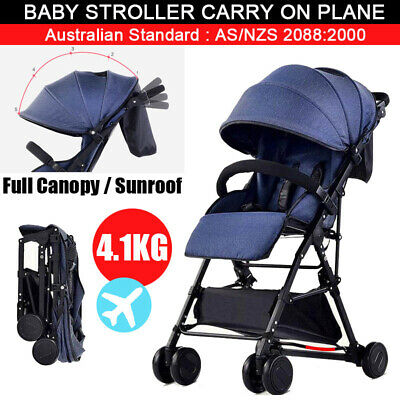 BABYCORE Lightweight Fold Compact Baby Stroller Pram Travel Carry Pushchair Blue