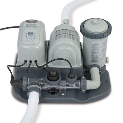 Intex 120V Krystal Clear Saltwater System Pool Chlorinator & Filter Pump-new