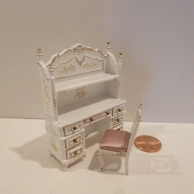 "Miniature 1/2"" Scale Youth Desk W/chair    White With Hand Painted Design"