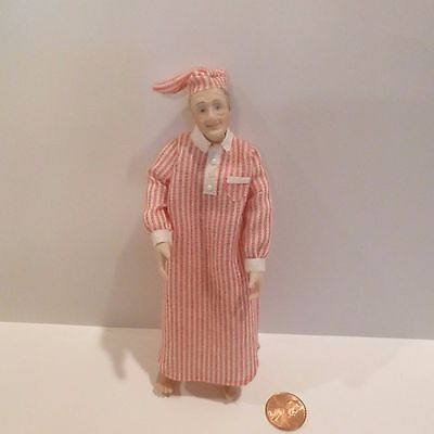Miniature Man Doll In Pajamas & Hat   Red/white