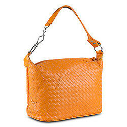 Mad Style Patent Weave Satchel Orange Purse Stylish Shoulder Bag Interior Pocket