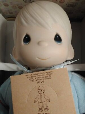 Precious Moments Timmy Porcelain Doll E-5397 New In Box, Blue Sleeper Outfit