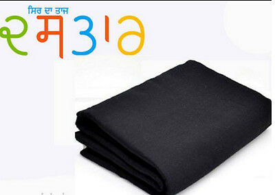 Turban Cotton Full Voile- 5 MTRS Punjabi Black Sikh Crown Best Quality Brand New