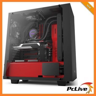 NZXT S340 Elite Black Red Gaming Case Quiet Mid Tower Tempered Glass Window ATX
