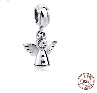 Angel Wings Genuine Sterling Silver S925 Charm Bead Pendant Crystal Pearl New