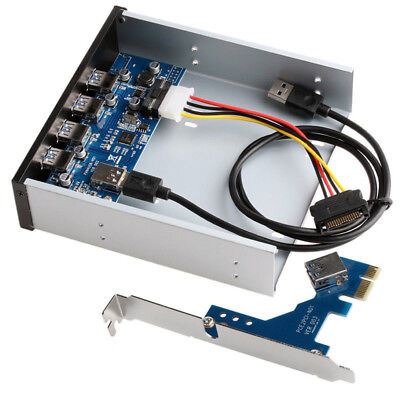 PCI USB 3.0 Front Panel Expansion Bay PCI-E 5.25in 4 Ports Card 1X Interface
