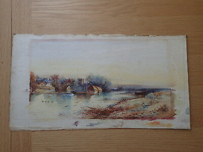 Signed Original Antique Watercolour Painting East Anglia River 1907