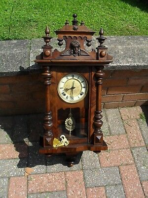 Nice Small Antique Vienna Type Wall Clock