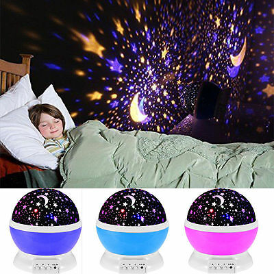 LED Rotating Star Projector Night Light Nursery Children Bedroom Sleeping Lamp