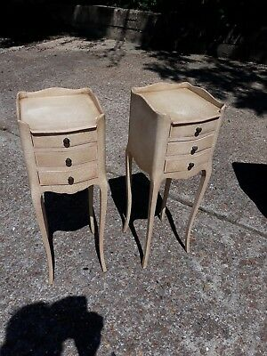 Pair of  French Bedside Cabinets.  cream / pink,   small size.