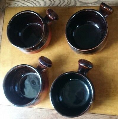 Japanese Stoneware-SET-of-4-Soup-Bowl-Chilli-Onion-with handle-