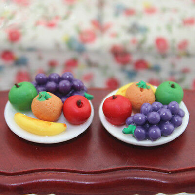 1:12 Doll House Miniature food fruit dish with grape Apple for doll's kitchen ^*
