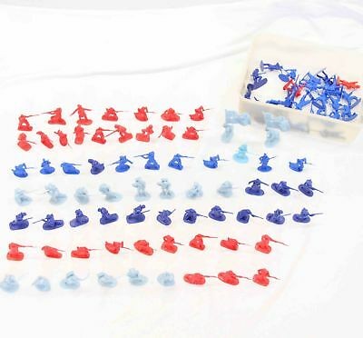Bulk Lot Of Various Red & Blue Plastic Army Figurines no.1 #15761