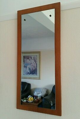 Vintage 1970s mirror on wooden teak frame retro wall hanging kitsch heavy