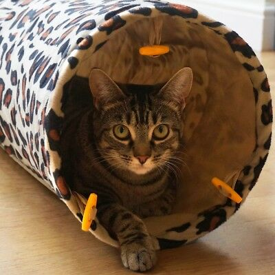 Me & My Leopard Print Cat/kitten Crinkly Pop Up Play Tunnel Puppy/rabbit Fun Toy