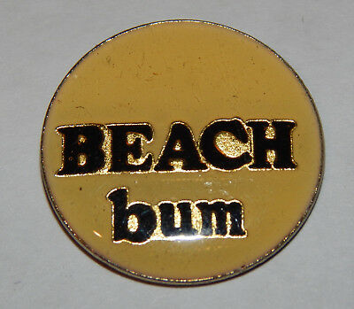 Vintage Original 1980's Beach Bum Collectible Vest Hat Tie Badge Enamel Pin