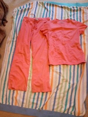 women's scrub set medium Grey's Anatomy top and bottom color coral