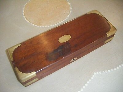 Antique Mahogany and Brass Medical Instrument Box with some contents