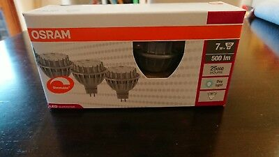4 Pack of Osram  Dimmable 7w LED MR16 Globe 12v  - Daylight **FREE POSTAGE**