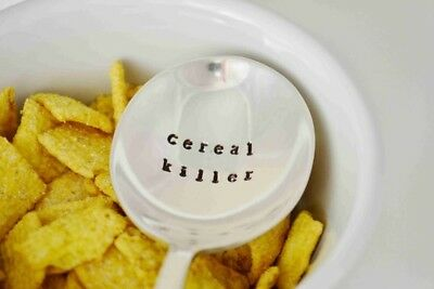 Cereal Killer spoon. Hand stamped vintage silver plated spoon, cereal lover gift