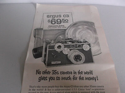 Argus vintage camera ad, original camera advertisement, nice condition.