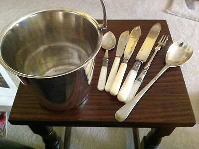 Silver Plated ice bucket, with a few vintage cutlery items