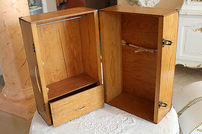 Vintage Doll Trunk Wood Wardrobe Carry Case Armoire Cabinet Fits American Girl