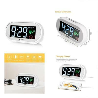 ICKER Alarm Clock With USB Charger, Dimmable Digital Led For Bedrooms, Four Time