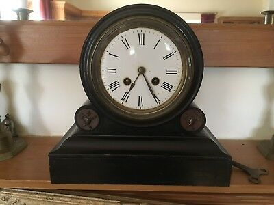 Antique Mantel Clock in Black wood - Chimes
